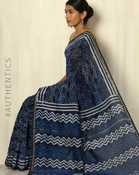Handblock Print Indigo Chanderi Saree With Zari Border By Indie Picks ( Indigo ) - 460053731001