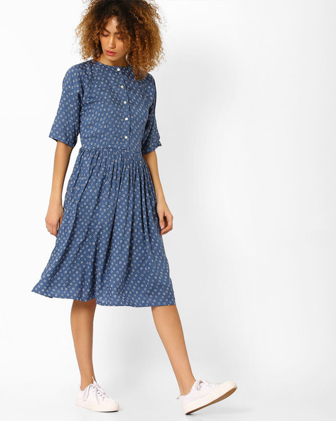 Printed A-line Dress By Vajor ( Blue )