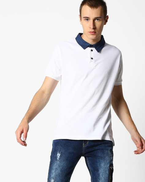 Polo T-shirt With Contrast Collar By DEEZENO ( White )