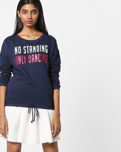 Typographic Print Sweatshirt With Drawstring By RIO ( Navy )