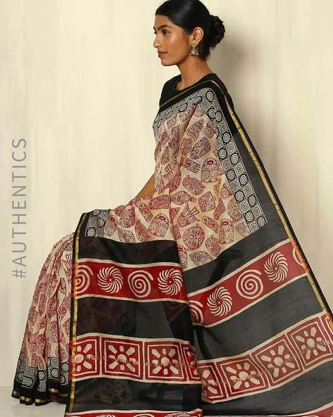 Bagru Handblock Print Chanderi Saree With Zari Border By Indie Picks ( Multi ) - 460053751001