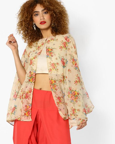 Floral Print Cape Top By AJIO ( Beige )