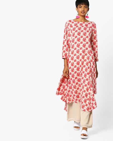 Floral Print Kurta With Asymmetric Hemline By Project Eve IW Casual ( Pink )