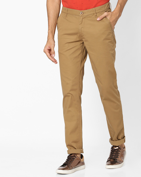 Slim Fit Flat-Front Trousers By JOHN PLAYERS ( Khaki )