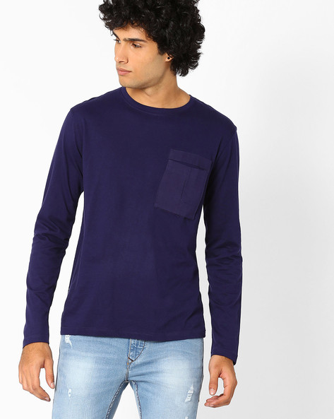 Slim Fit T-shirt With Patch Pocket By Blue Saint ( Navyblue )