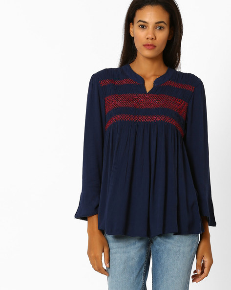 Top With Bell Sleeves By Global Desi ( Blue )