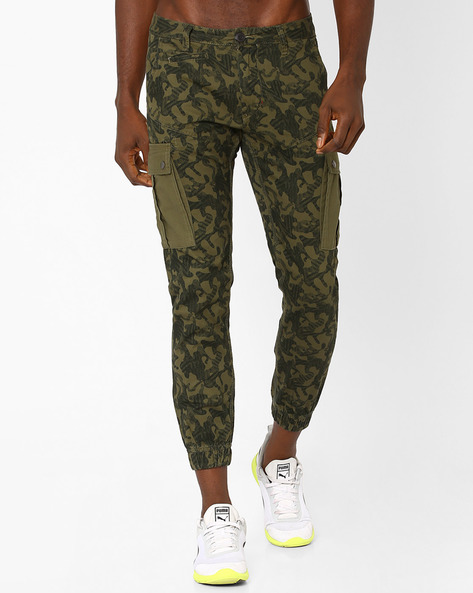 Camouflage Print Joggers By DNM X ( Olive )