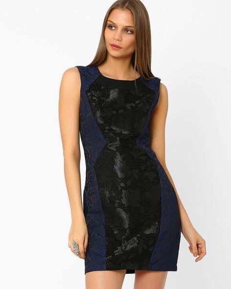 Panelled Jacquard Sheath Dress By AJIO ( Navyblue )
