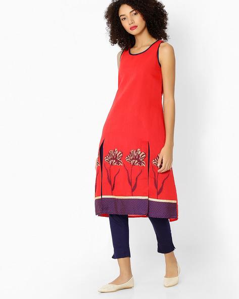 Sleeveless Kurta And Pencil Pants Set By AVAASA SET ( Red )