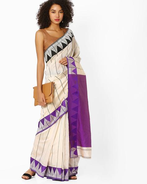 Printed Banarasi Silk Saree By Viva N Diva ( Offwhite )