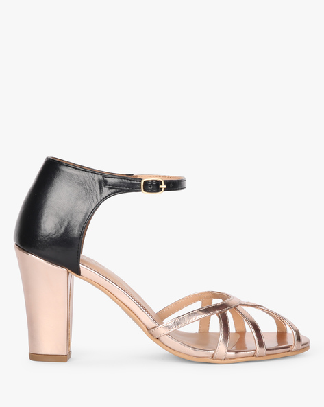 Ankle-Strap Heels With Metallic Upper By AJIO ( Gold )