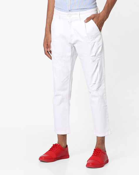 Mid-Rise Slim Fit Denims By ADAMO LONDON ( White )