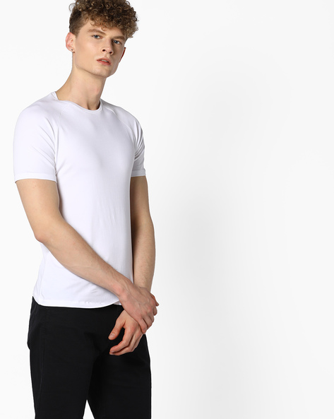 Special Cotton Stretch T-shirt With Raglan Sleeves By AJIO ( White )