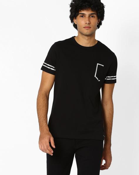 Foil Print Slim T-shirt By AJIO ( Black )