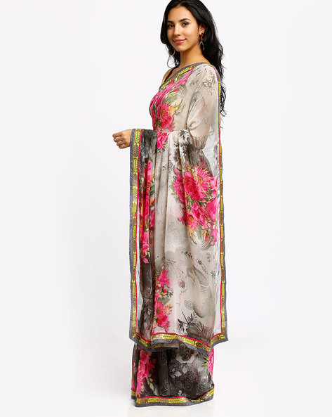 Printed Georgette Saree By Lookslady ( White )