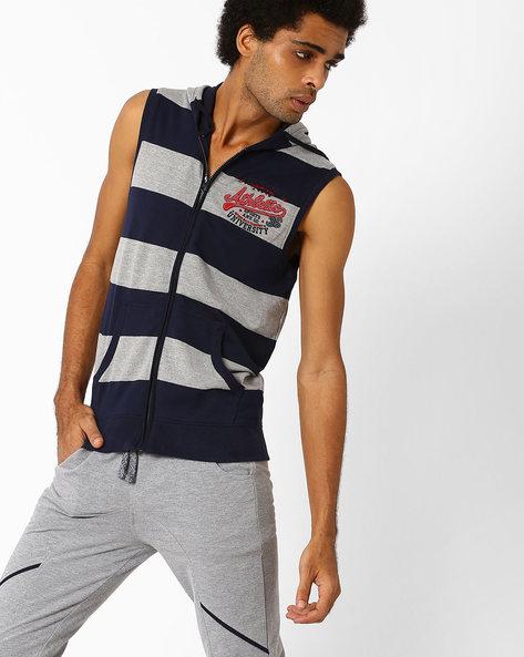 Striped Sleeveless Sweatshirt With Hood By TEAM SPIRIT ( Greymelange )