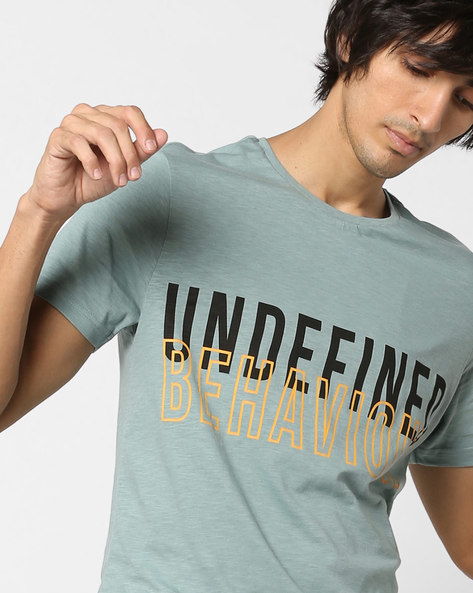 Typographic Print Slim Fit T-shirt By AJIO ( Olive )