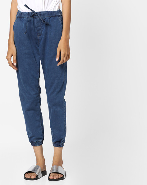 Mid-Rise Joggers With Drawstring Fastening By Project Eve WW Denim ( Mediumblue )