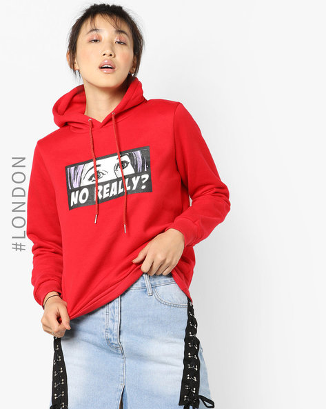 Graphic Print Hooded Sweatshirt By Glamorous ( Red )