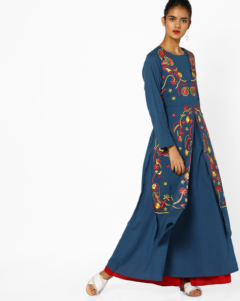 Layered Maxi Kurta With Floral Embroidery By Khimsariya ( Blue )