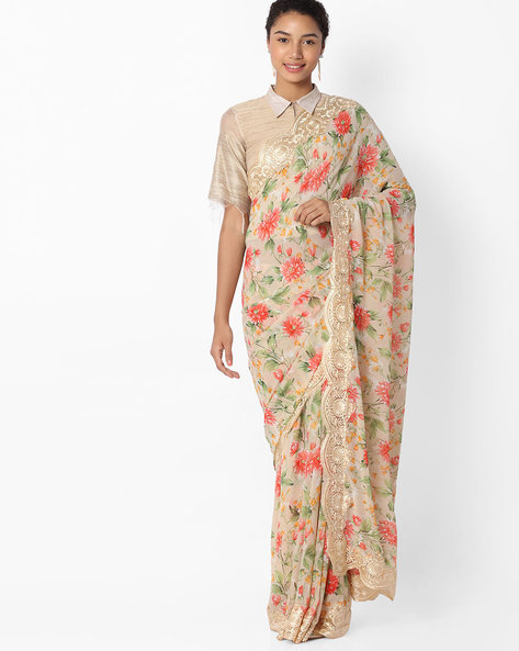 Floral Print Saree With Lace Border By VIPUL ( Red )