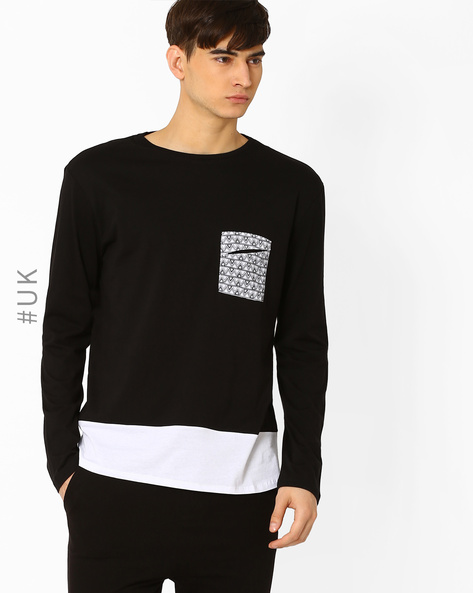 Crew-Neck T-shirt With Contrast Pocket By Another Influence ( White )