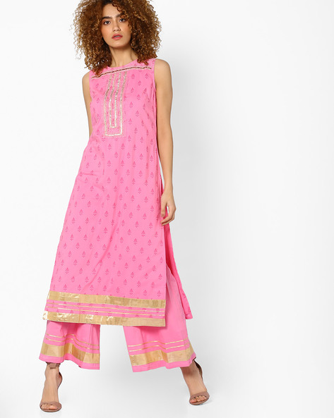Printed Sleeveless Kurta With Gota Embroidery By AJIO ( Lightpink )