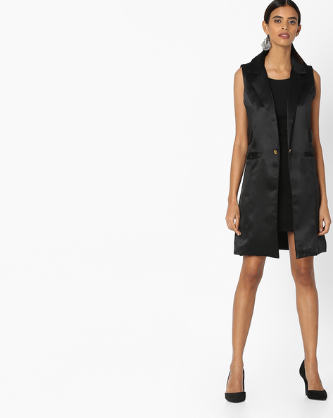 Sleeveless Trench Coat With Notched Lapel By Sassafras ( Black )