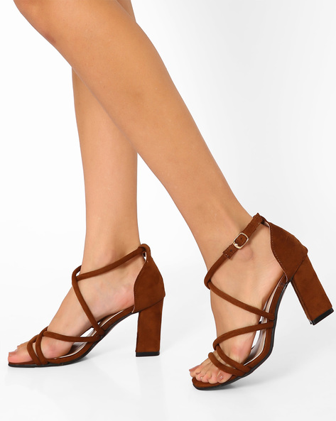 D'Orsay Sandals With Chunky Heels By MFT Couture ( Brown )