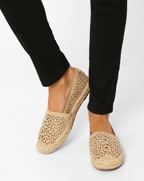 Espadrille Shoes With Cut-Outs By Jove ( Beige )