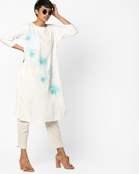 Printed Straight Kurta With Pockets By Project Eve IW Casual ( Teal )