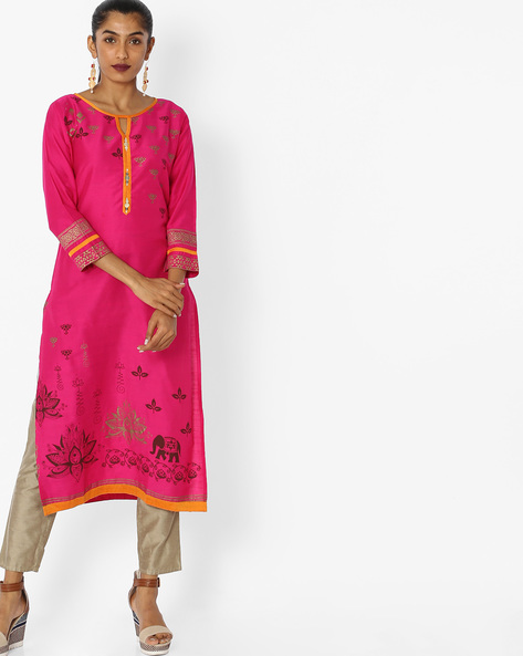 Printed Straight Kurta By Indian Ink ( Pink )