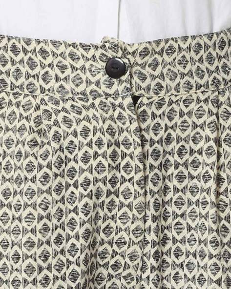 Jacquard Woven Pleated Trousers By Rena Love ( Offwhite )
