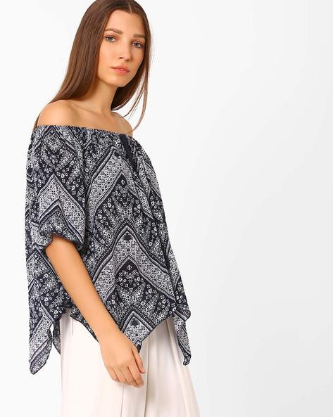 Printed Off-Shoulder Top By Rena Love ( White )