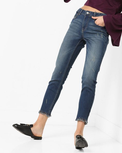 Skinny Fit Cropped Jeans With Frayed Hems By Only ( Darkblue )