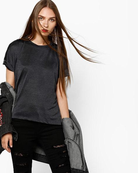 Panelled Slub Top With Step Hem By AJIO ( Grey )