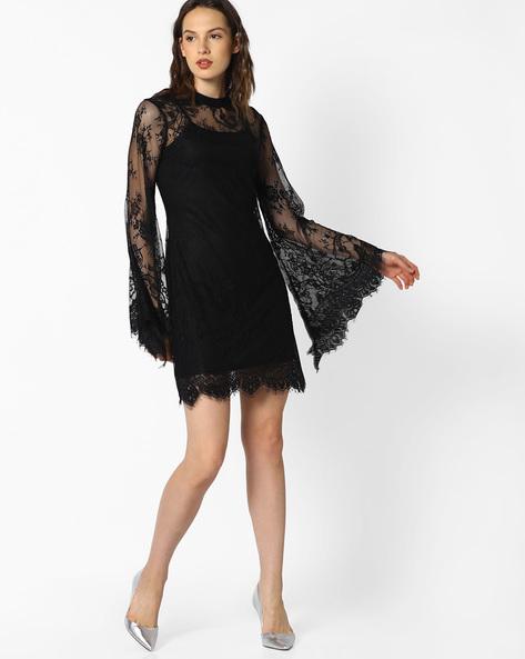 High-Neck Lace Sheath Dress By AJIO ( Black )