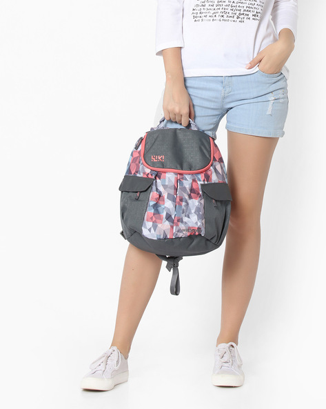 Geometric Print Backpack By Wildcraft ( Pink )