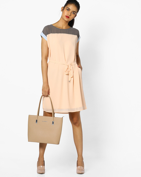 Colourblock Dress With Tie-Up By PE WW Casual ( Brown )