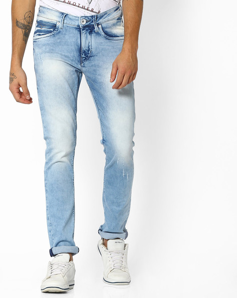 Stone Washed Mid-Rise Skinny Jackson Jeans By FLYING MACHINE ( Blue )