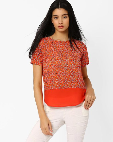 Floral Print Top With High-Low Hem By ANONYMOUS CO ( Brtmulti )