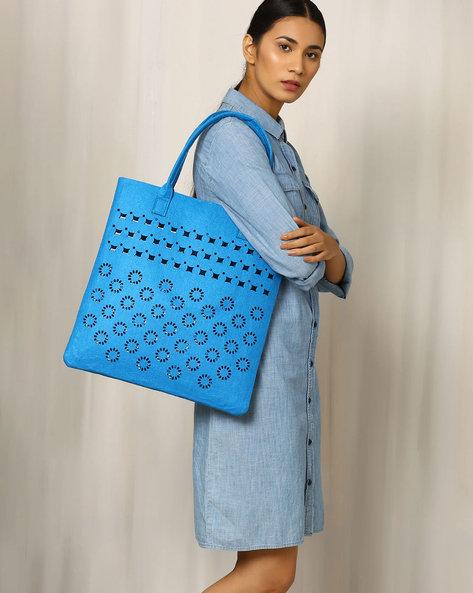 Felt Floral Cutwork Tote Bag By Indie Picks ( Yellow )