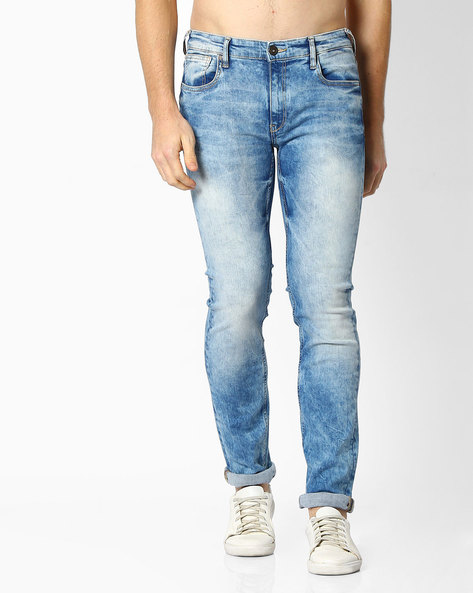 Mid-Washed Slim Fit Jeans By Pepe Jeans ( Lightblue )