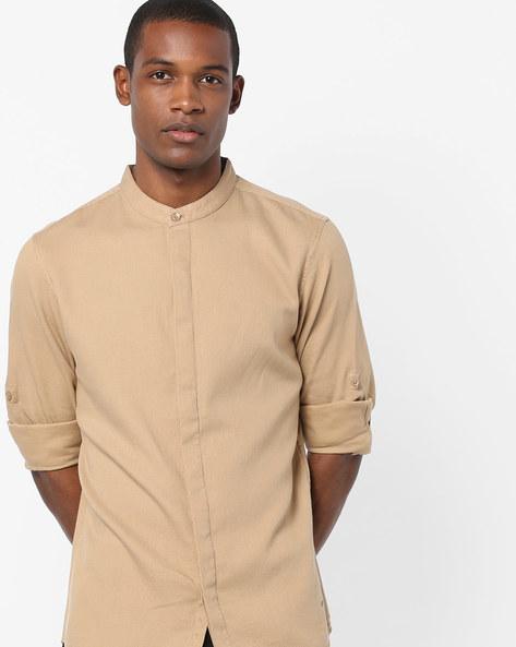 Textured Shirt With Mandarin Collar By AJIO ( White )