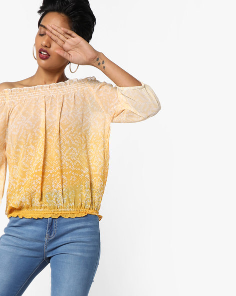 Ombre-Dyed Printed Off-Shoulder Top By FUSION BEATS ( Yellow )