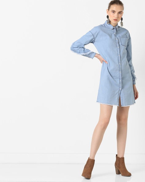 Denim Shirt Dress With Twisted Frill By AJIO ( Lightblue )