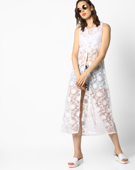 Sleeveless Longline Sheer Jacket With Floral Embroidery By AJIO ( Ivory )