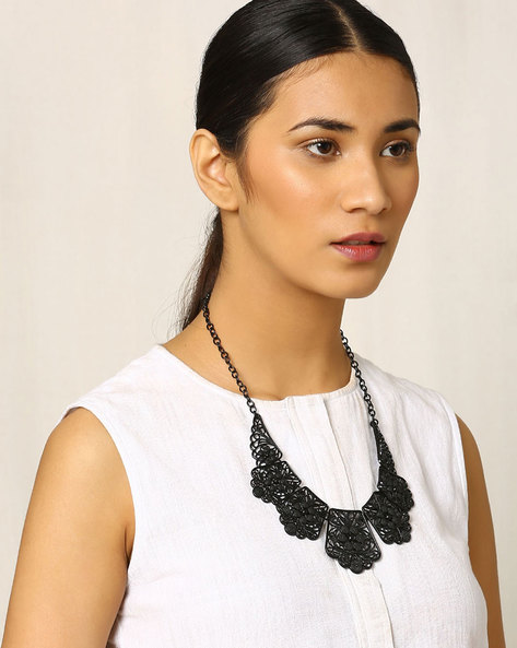 Metal Filigree Necklace By Indie Picks ( Black )