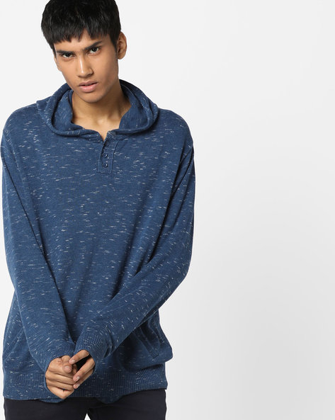 Hooded Pullover With Ribbed Hems By AJIO ( Blue )