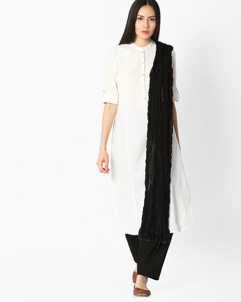Cotton Patiala Pants And Dupatta Set By Jaipur Kurti ( Black )